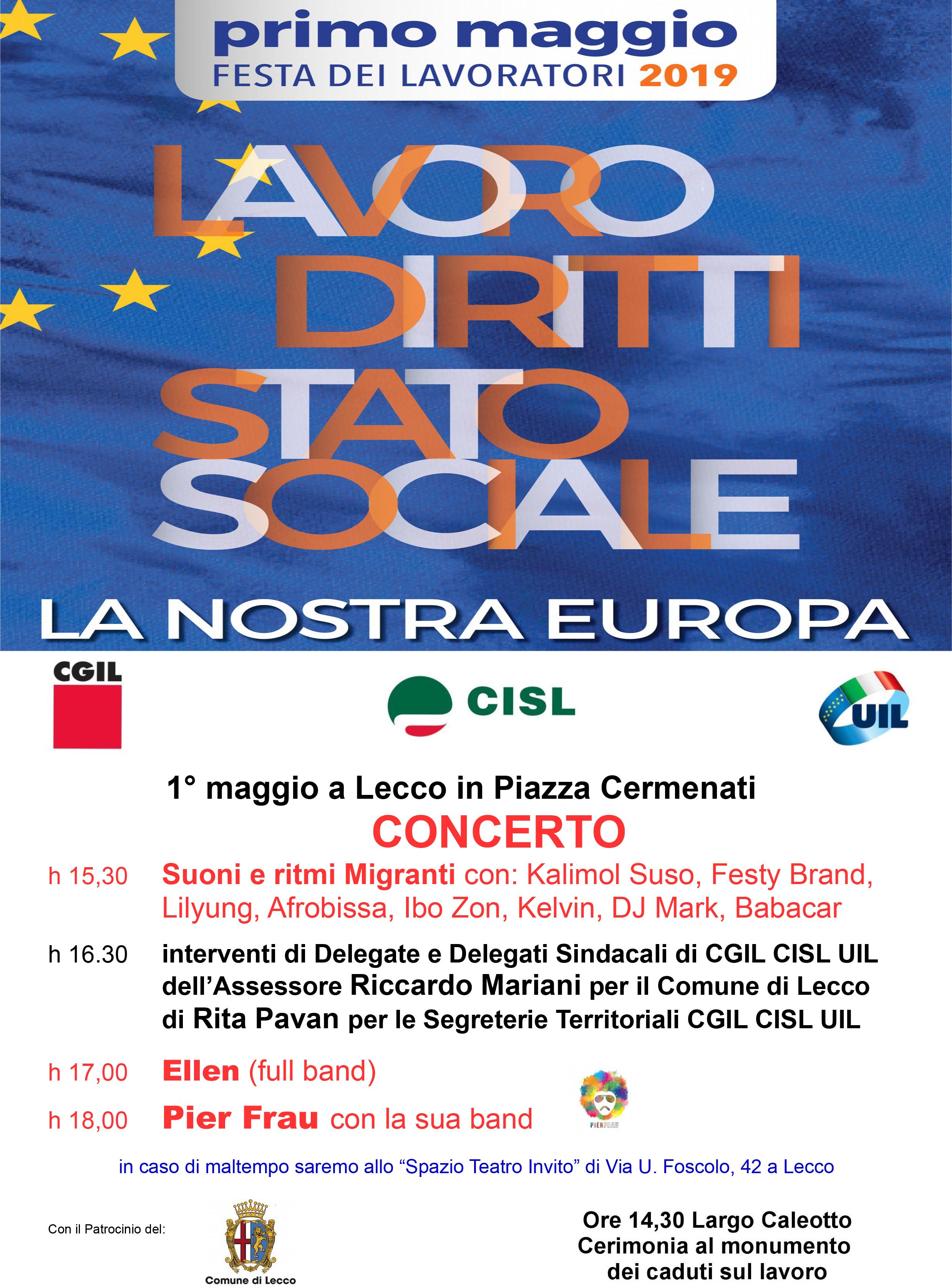 Manifesto Concerto 1° maggio 2019 Lecco Ellen Pier Frau-2