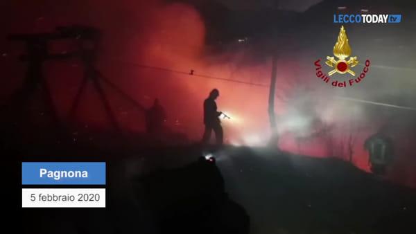 Pagnona tra le fiamme: il video delle operazioni di spegnimento condotte dai pompieri