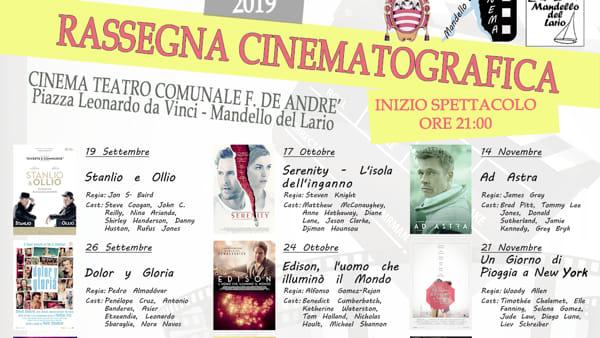 Cinema: rassegna Autunno 2019 a Mandello